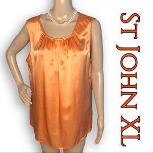 EUC St John apricot silk sleeveless ruched shell